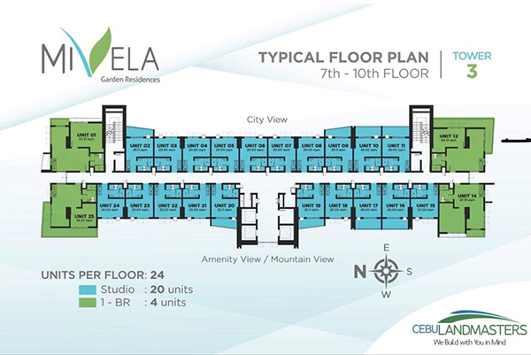 typical floor plan in the 7th to 10th floor