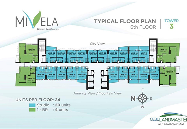 typical floor plan at the 6th floor