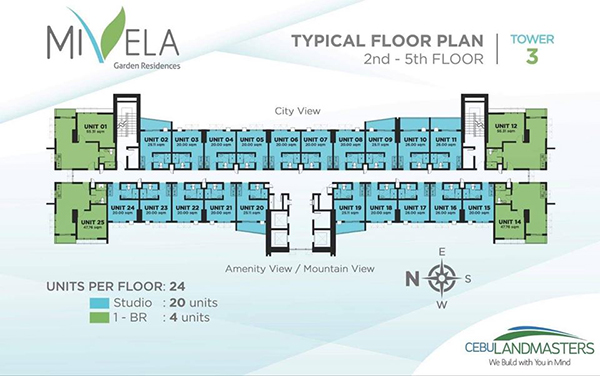 typical floor plan at the 2nd to 5th floor