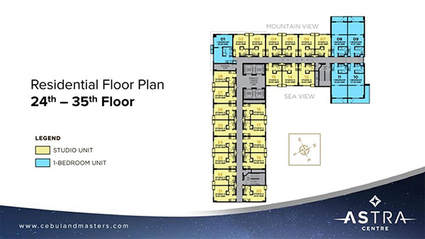 residential floor plan in the 24 to 35th floors