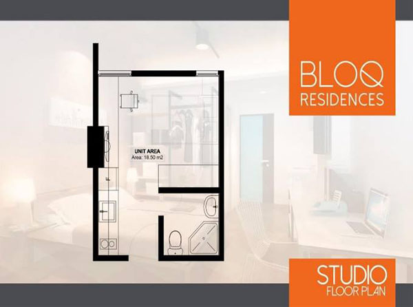 residential studio unit floor plan