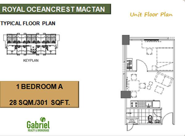 28 sqm 1 bedroom A floor plan