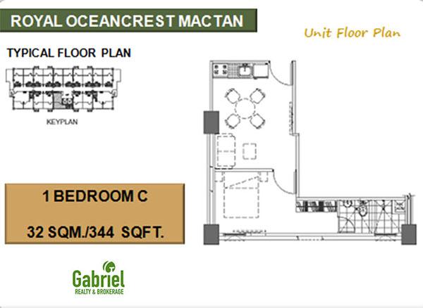32 sqm 1 bedroom C floor plan