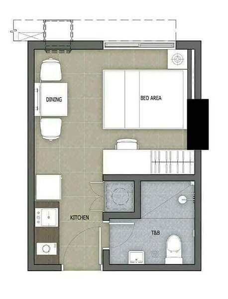 typical residential studio floor plan