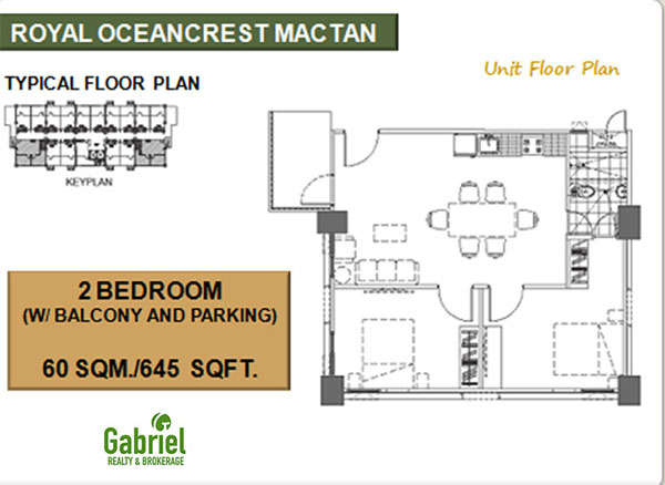2 bedroom with balcony and parking floor plan