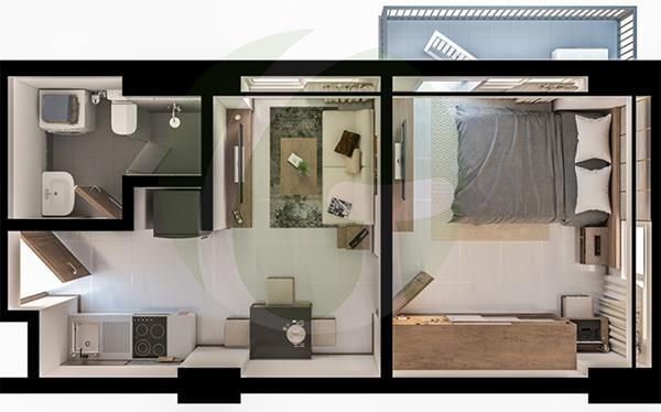 1 bedroom condominium floor plan