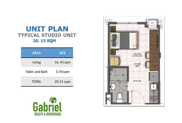 typical 21 sqm residential studio floor plan