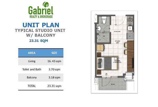 typical residential studio with balcony floor plan