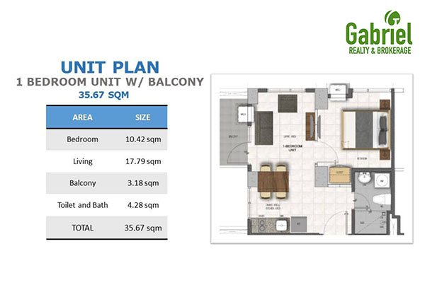 1-bedroom with balcony floor plan
