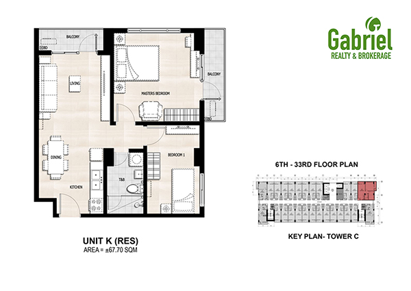 67 sqm 2 bedroom condominium floor plan