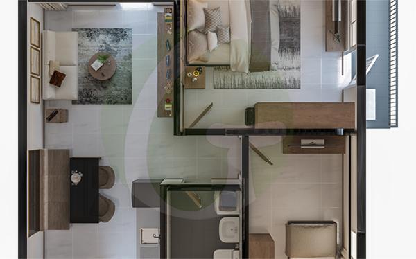 typical 2-bedroom with balcony floor plan