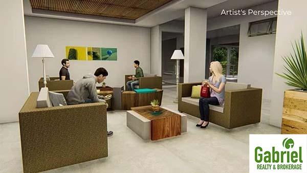 spacious lobby and reception area of the condominium