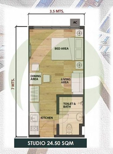 24 sqm studio condominium floor lay out