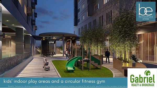 kids' indoor play areas and a circular fitness gym