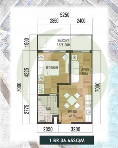1-bedroom condominium floor plan