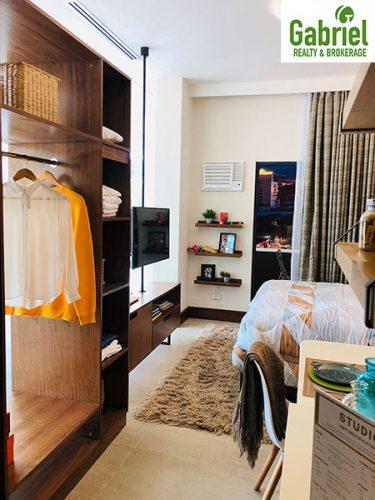 the bed, the furniture in studio residential condominium