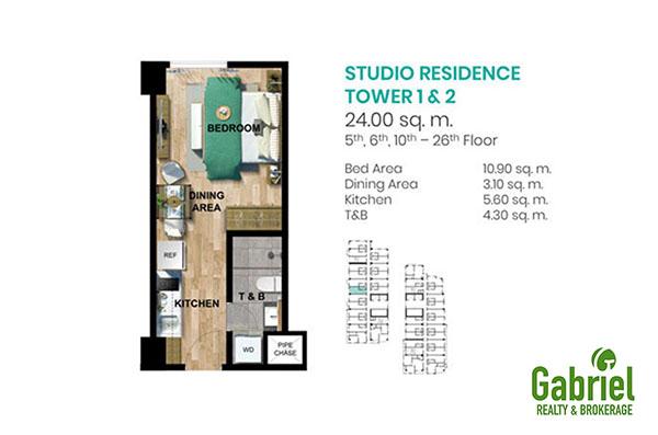 studio residence in tower 1 & 2 floor plan