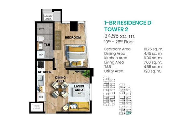 1 bedroom floor plan in tower 2