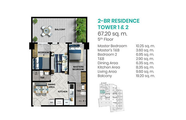 58 sqm 2-BEDROOM condo unit floor plan