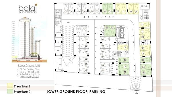 parking building plan of balai by be residences