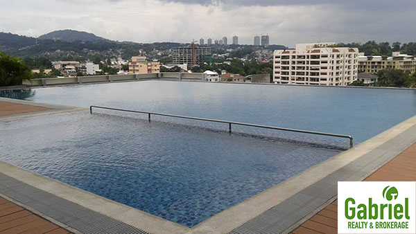 view from the swimming pool at the top of the condominium