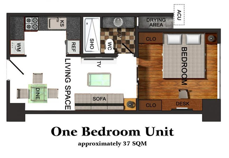 1 bedroom floor lay out in one pavillon condominium