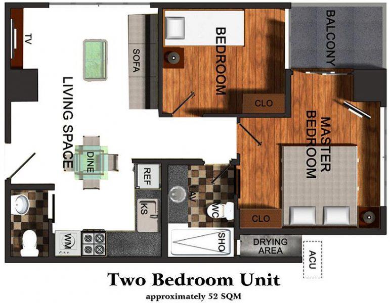 2 bedroom floor lay out in one pavillon condominium