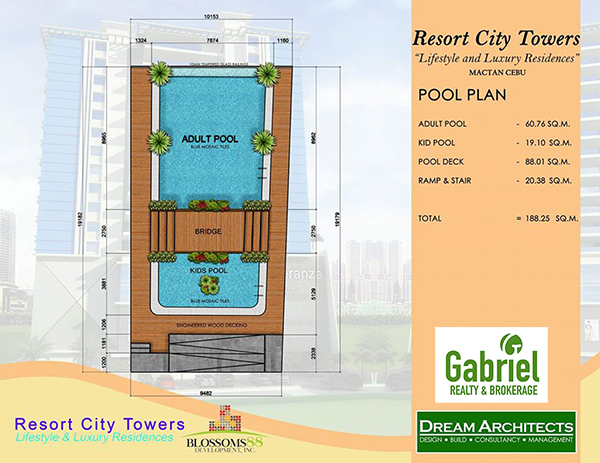 swimming pool plan of resort city towers