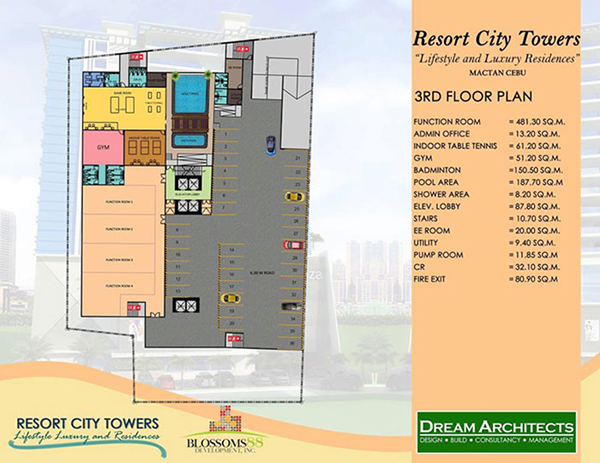 floor plan of the amenity area at the 3rd floor