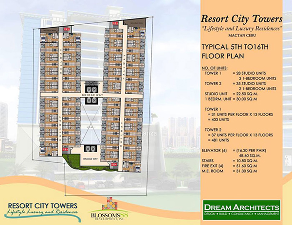typical floor plan of the 5th to 16th floors