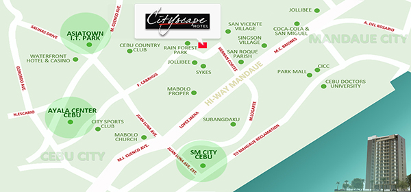 vicinity map of cityscape tower condominium and hotel