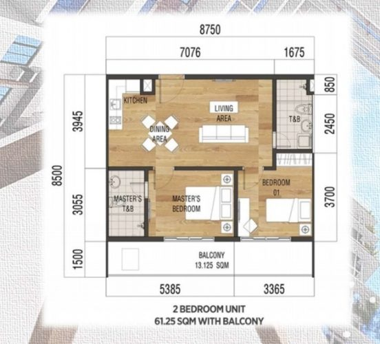 37 sqm 1 bedroom floor plan