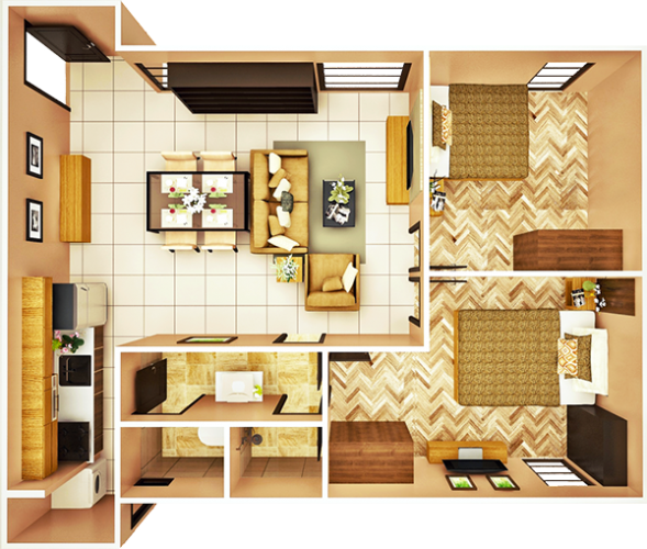 53 sqm 2-BEDROOM A floor plan