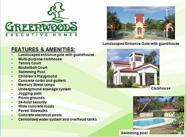 features and amenities of greenwoods executive homes cebu
