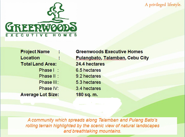 project details of Greenwoods Executive Homes Cebu