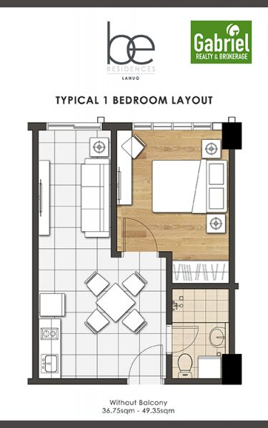 1 bedroom floor plan in be residences