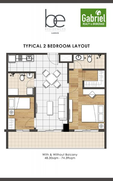 2 bedroom floor plan in be residences