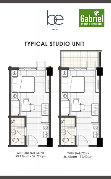 studio floor plan in be residences