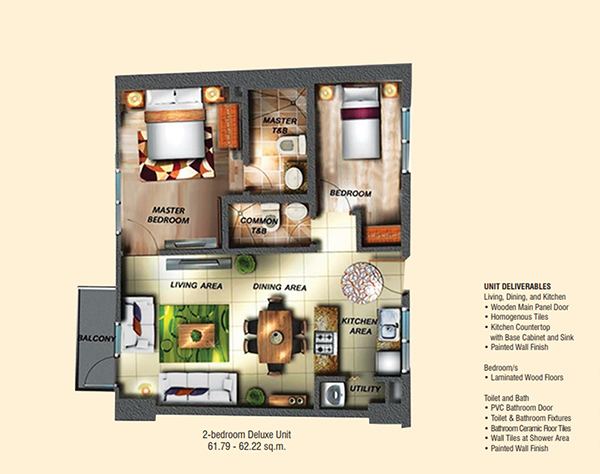 2 bedroom deluxe floor plan