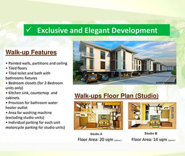 features of the walk up condominium in talisay