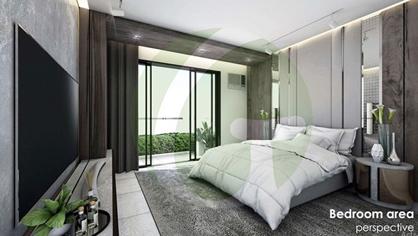 studio with balcony lay out with furniture and bed