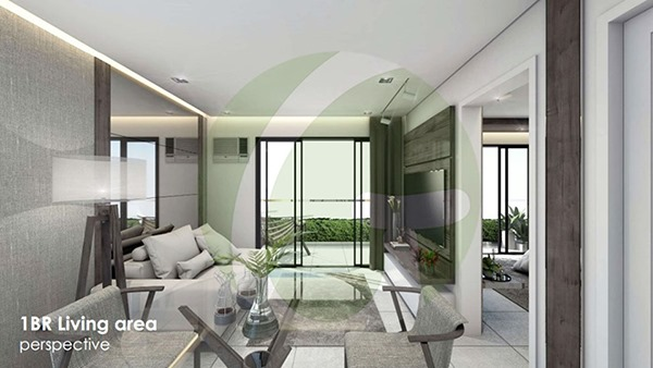 1-Bedroom condominium lay out with bed, tables and chairs