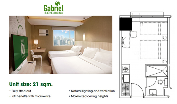 studio floor plan in hotel 101 cebu