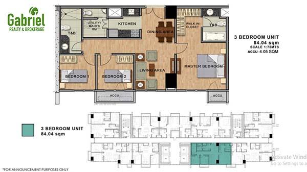residential 3 bedroom floor plan