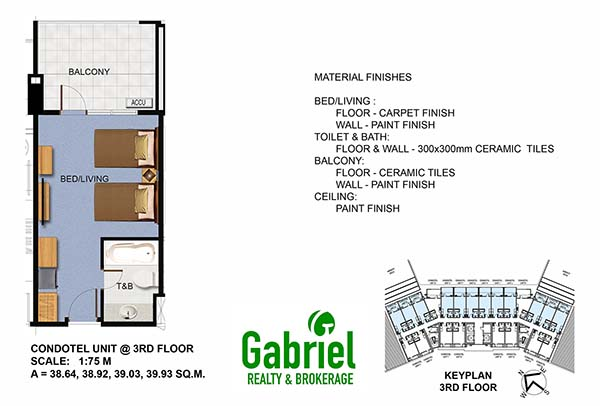condotel studio floor plan