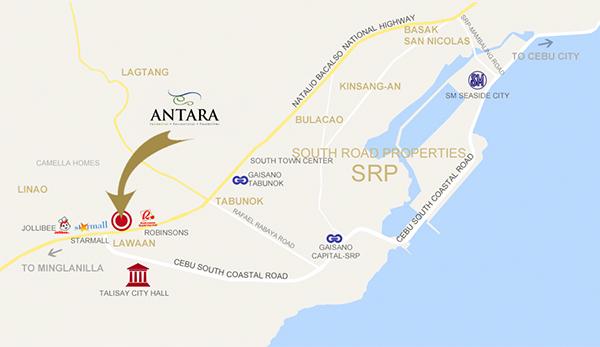 vicinity map of antara condominium in lawaan, talisay city, cebu