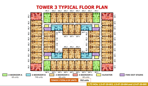 typical floor plan in tower 3