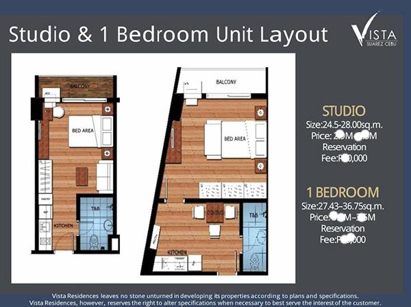 studio floor plan and 1 bedroom floor plan