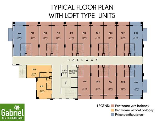 floor plan with loft type units