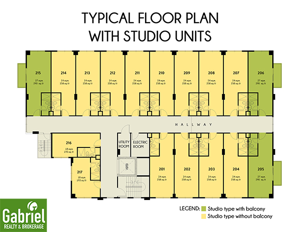 typical floor plan with studio units